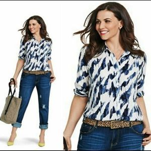 CAbi | Moody Blue Button Up Down Blouse #3096 Top